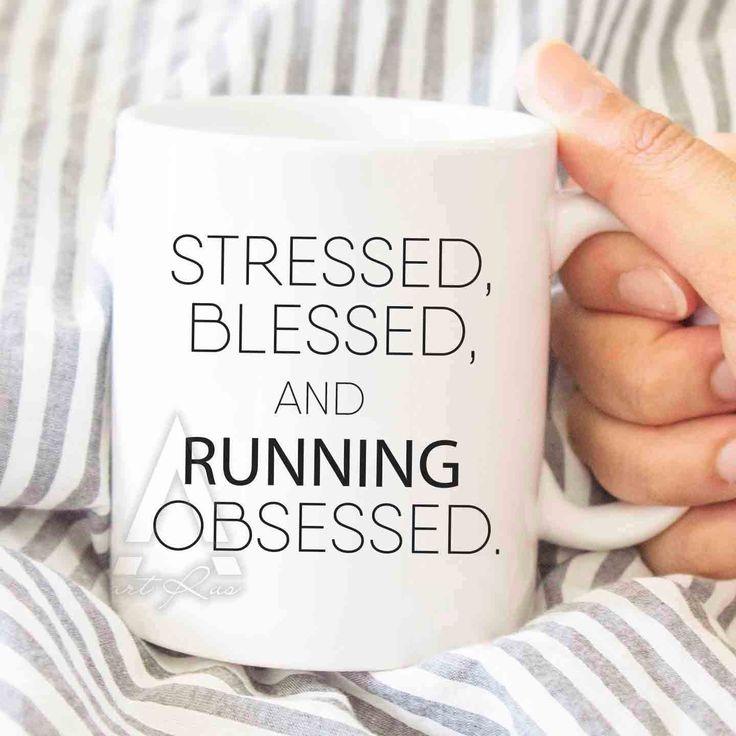 "Runner gifts, ""running obsessed"" coffee mug, gifts for runners, running mug, running mom, running man, runner girl, running gifts, MU198 by artRuss on Etsy"
