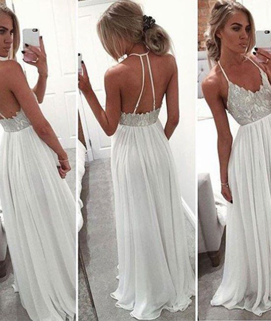 Prom Dresses,custom Made White A-line Backless