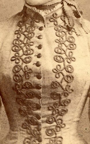 Close up of 1880s photograph depicting a Victorian jacket with beautiful soutache decoration, embellishments. Passementerie. Detail.