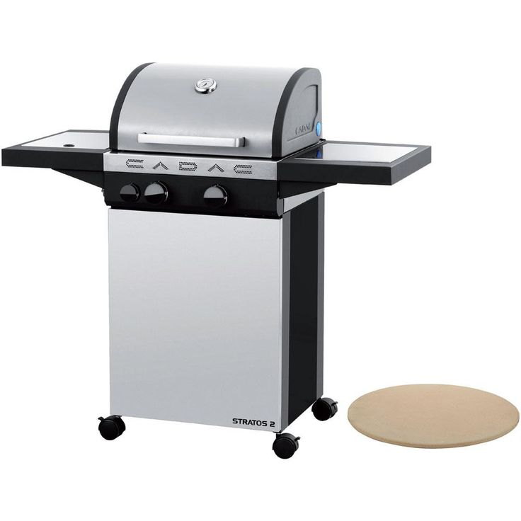 Cadac Stratos 2 2-Burner Propane Gas Grill in Stainless Steel (Silver) with Pizza Stone