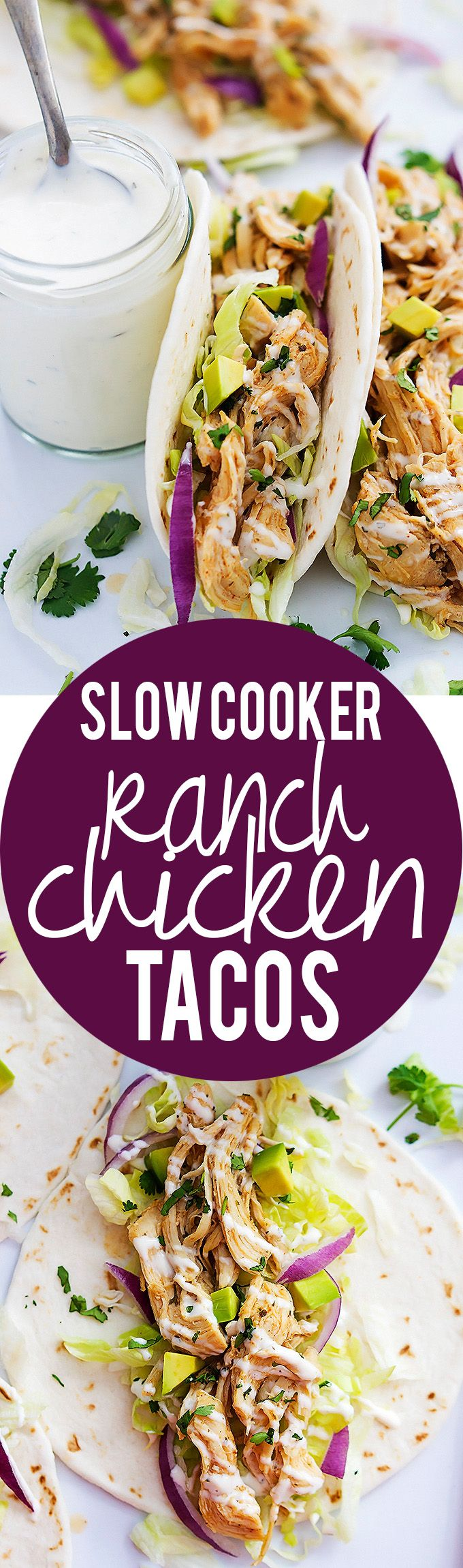 Slow Cooker Ranch Chicken Tacos | Creme de la Crumb