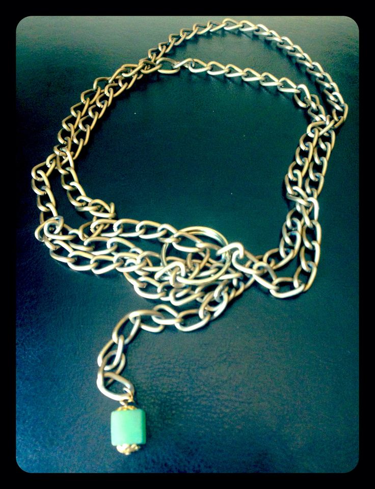 HwarWire.Warrior bolted linked gold chain with green Jasper gem