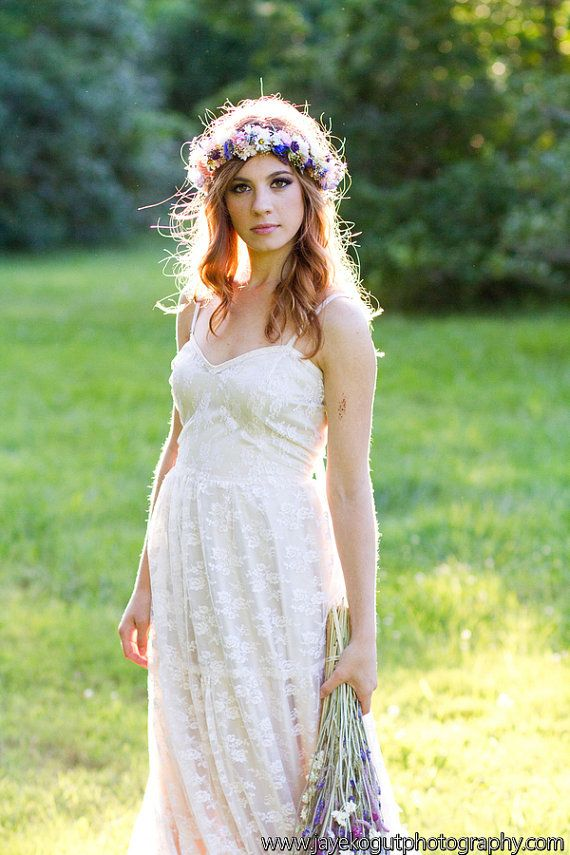 Bridal Halo hair wreath Dried Flower Crown by AmoreBride on Etsy