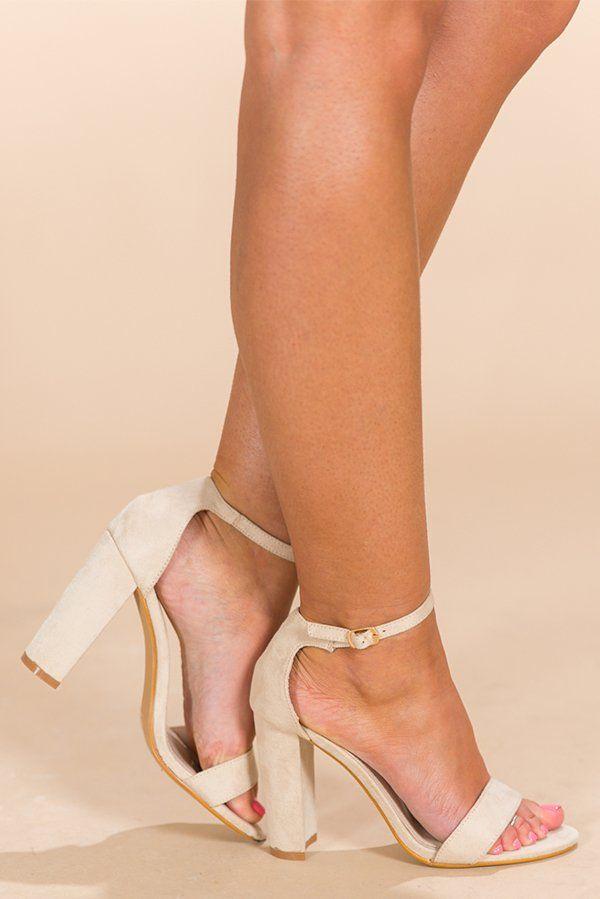 33cf245f Hollywood Romance Heel-$39 As Shown. Stone ankle strap peep-toe heel. Heel  Height: 4 inch block heel