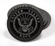"""US Navy Emblem set of 6 coasters laser engraved on 1/8"""" black acrylic with a felt backing"""