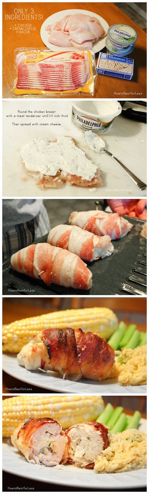 Stuffed Bacon Wrapped Chicken. I use Laughing Cow cheese wedges. Brown in pan, stick in 350 oven for 30 msn.