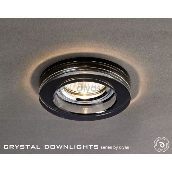 Diyas Halo Cluster Recessed Black Crystal Round Downlight Fascia Only - Diyas from Castlegate Lights UK
