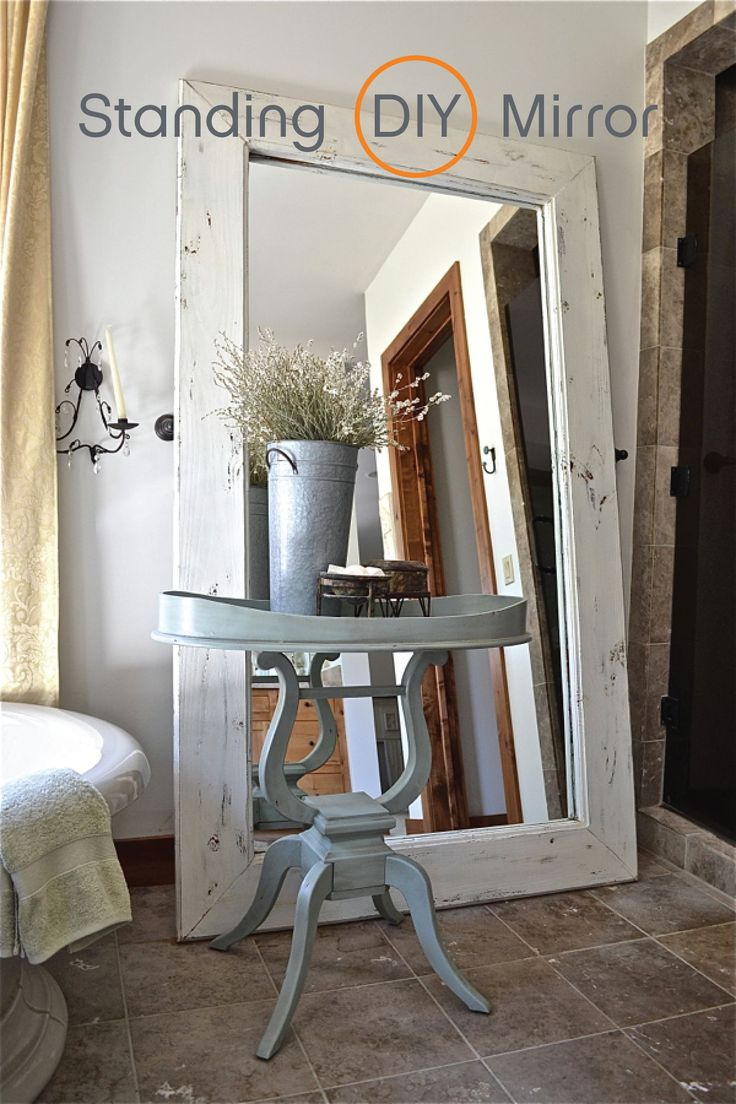 Create this beautiful and rustic floor mirror to accentuate your farmhouse décor. This easy DIY project is a great way to add depth and style to your home design.