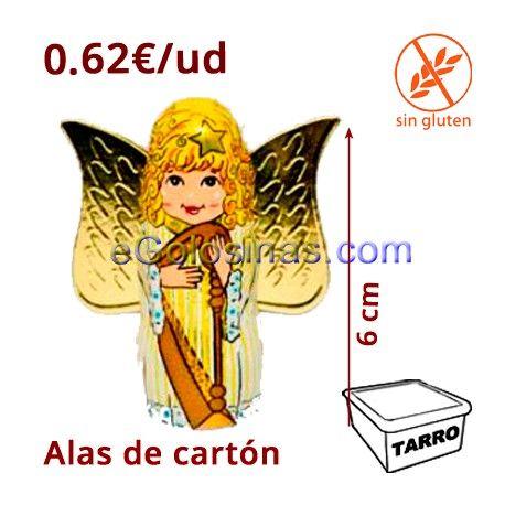 ANGELES CHOCOLATE son chocolatinas envueltas con forma de Ángel y las alas doradas son de cartón. Mide 6 cm de alto y 5 cm de ancho con las alas (3cm de chocolate de ancho) y 1.5cm de profundidad. Se venden 30 unidades ideales para NAvidad