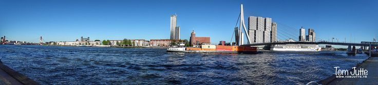 HereIsTom posted a photo:  Panorama of the river New Meuse (Dutch: Nieuwe Maas) at the Erasmus Bridge (Dutch: Erasmusbrug) in Rotterdam.  The river Nieuwe Maas is a distributary of the Rhine River, and a former distributary of the Maas River, in the Dutch province of South Holland. It runs from the confluence of the rivers Noord and Lek, and flows west through Rotterdam.  © www.tomjutte.tk  .