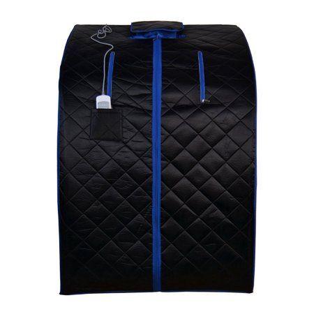 Aleko Personal Folding Portable Infrared Sauna, Black With Blue Trim Color