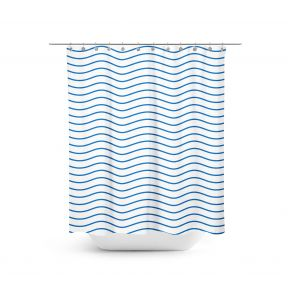 Blue waves - Shower curtain. Dreaming of the ocean or just in love with the minimalistic blue wave pattern? This may be the shower curtain of your dreams.