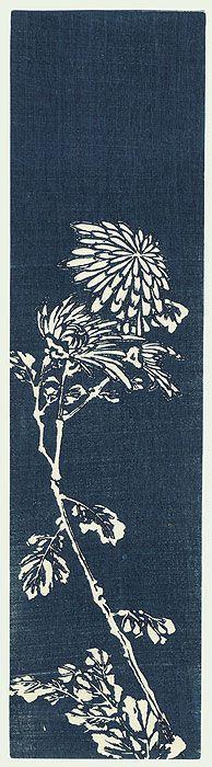 Chrysanthemum Tanzaku Print by 20th century artist (unsigned)