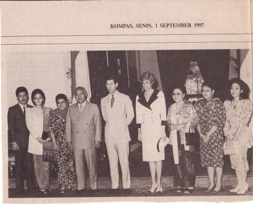 """This was scanned from Indonesian """"KOMPAS"""" daily newspaper, Sept 1st 1997. Prince Charles and Princess Diana with (late) President of Indonesia -  天体の鳥小屋"""