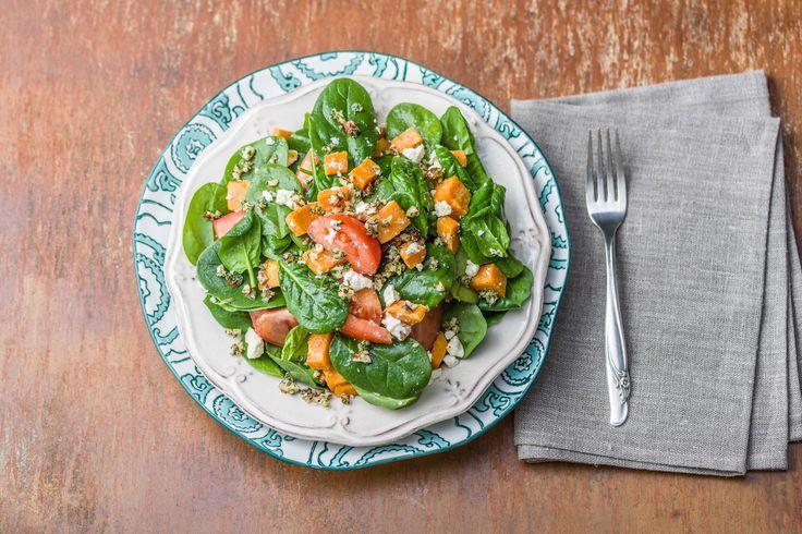 Salade van spinazie en bataat