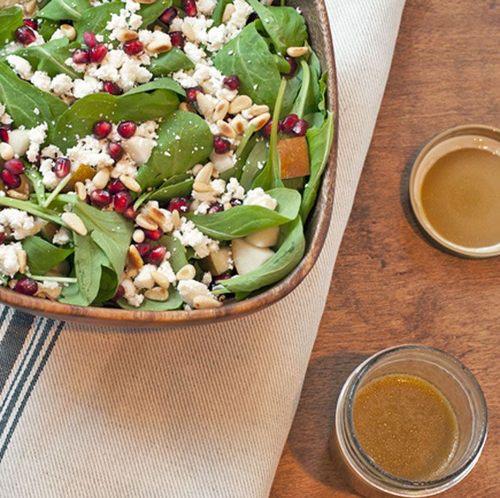 Arugula, Pear, and Goat Cheese Salad with pomegranate seeds and ...