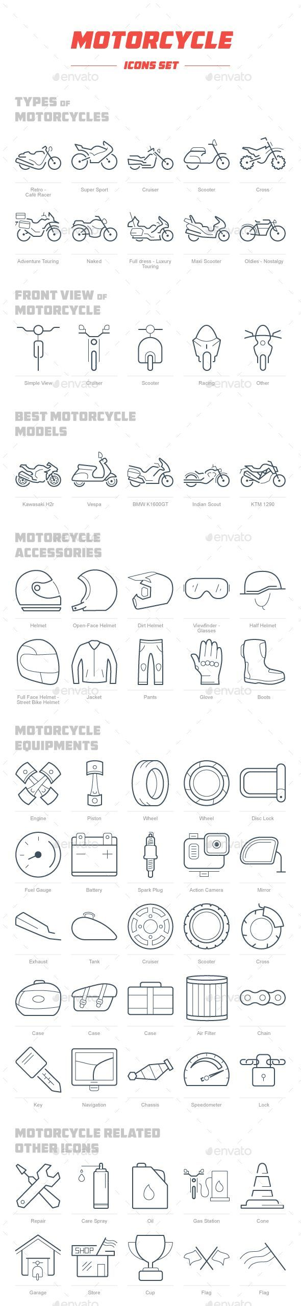 Motorcycle Icon Set  — PSD Template #cruiser #Best Motorcycle Models • Download ➝ https://graphicriver.net/item/motorcycle-icon-set/18365362?ref=pxcr #Motorcycles