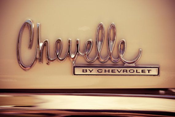 Chevelle by Chevrolet - Classic Car Emblem - Cream and Silver Wall Art for Guys - Muscle Car Art - Mancave Decor - 16X24 Fine Art Photograp