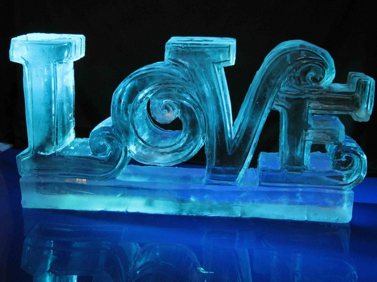 """Love"" ice sculpture wedding decoration idea"
