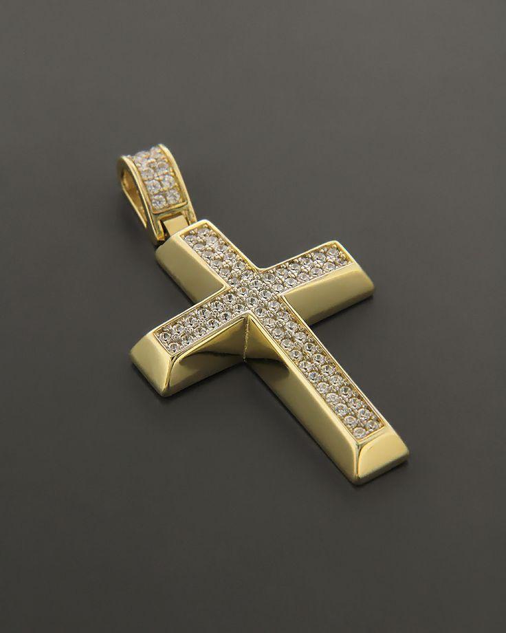 Σταυρός χρυσός Κ14 με πέτρες ζιργκόν | eleftheriouonline.gr