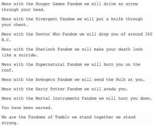 FANDOMS UNITE! Hunger Games/ Divergent/ Doctor Who/Supernatural/ Sherlock/avengers/ Harry potter/mortal instruments