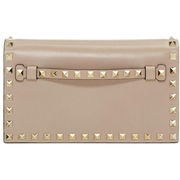 Valentino Taupe Small Rockstud Clutch (10 540 SEK) ❤ liked on Polyvore featuring bags, handbags, clutches, taupe, magnetic purse, clasp purse, clasp handbag, taupe purse and valentino handbags