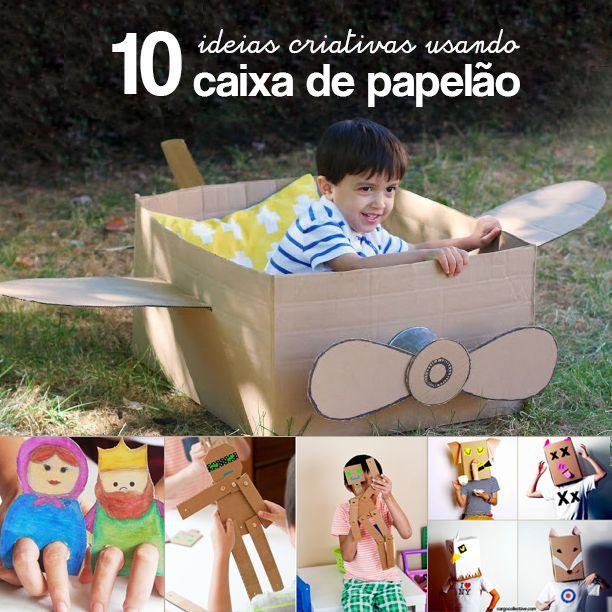 Brincar fora de casa: ideia usando caixa de papelão