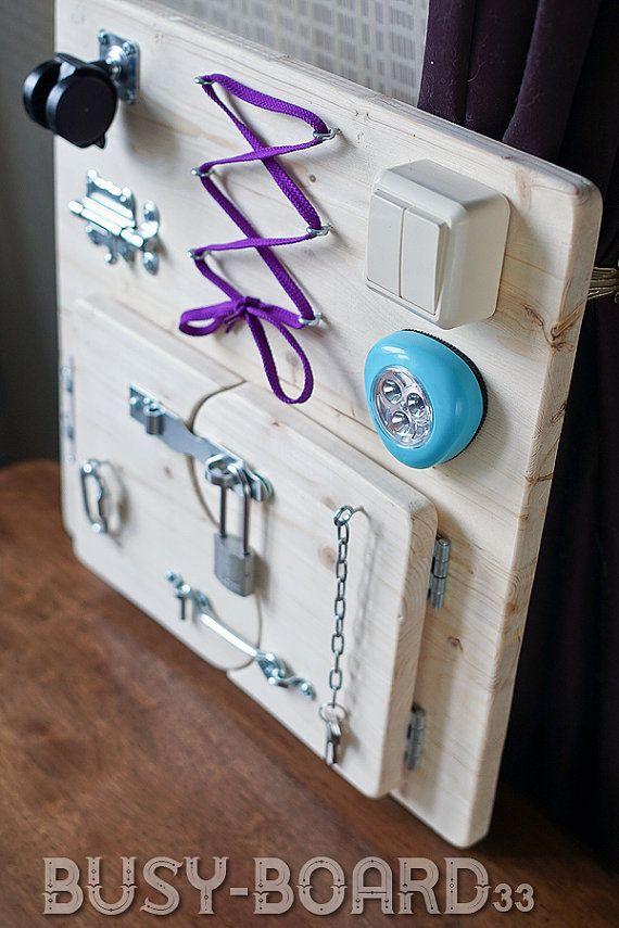 Busy Board, Activity Board, Sensory Board, Montessori educational Toy, Wooden…