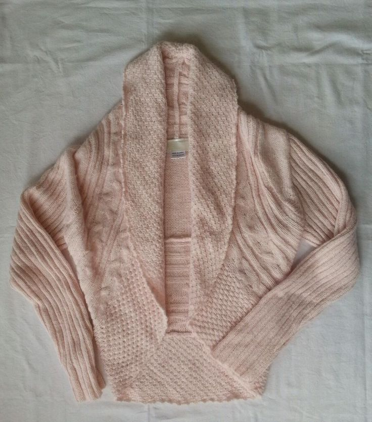 Ladies Cardigan Cardi Knit Wool Crop Shrug Bolero Light Pink Alpaca Cable Size M in Clothing, Shoes, Accessories, Women's Clothing, Jumpers, Cardigans   eBay!