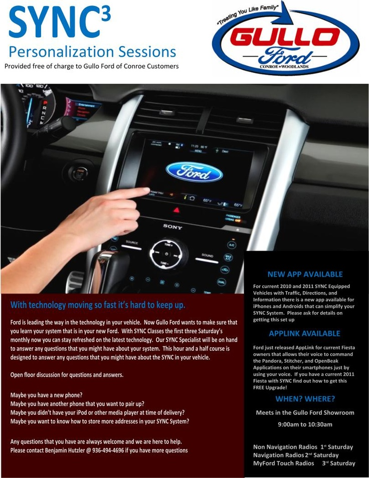 Free Sync Sessions Gullo Ford Of Conroe The Woodlands Sync