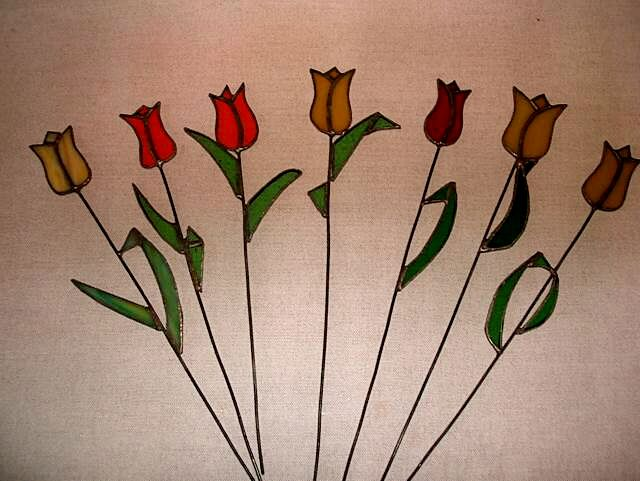 flowers. tulips. Stained glass/witraże. Inspired by life. Mum's work. Mum on glass.