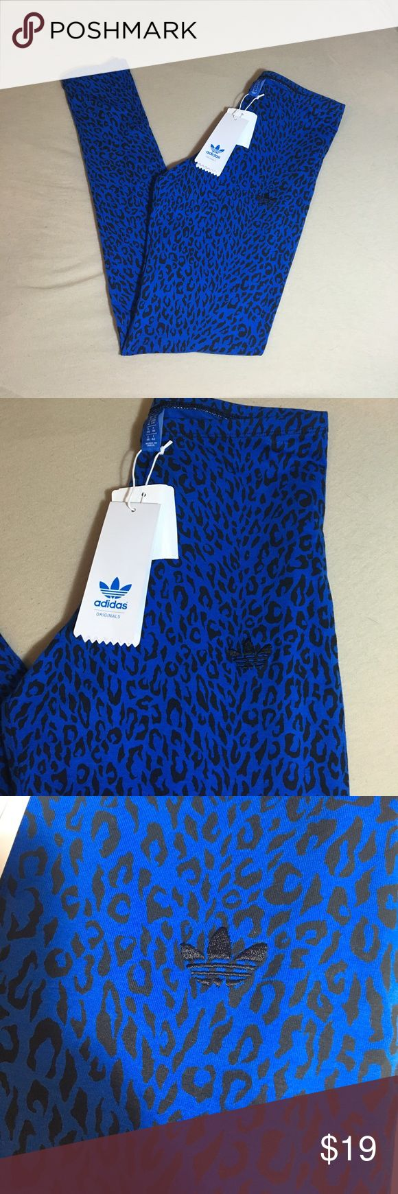 NWT Blue cheetah print adidas leggings These leggings are new with tags and super adorable and ten by! They are dark blue and have black cheetah or leaped print with a black adidas logo embroidered in! They're new with the tags. Size small. I ❤️ offers! adidas Pants Leggings