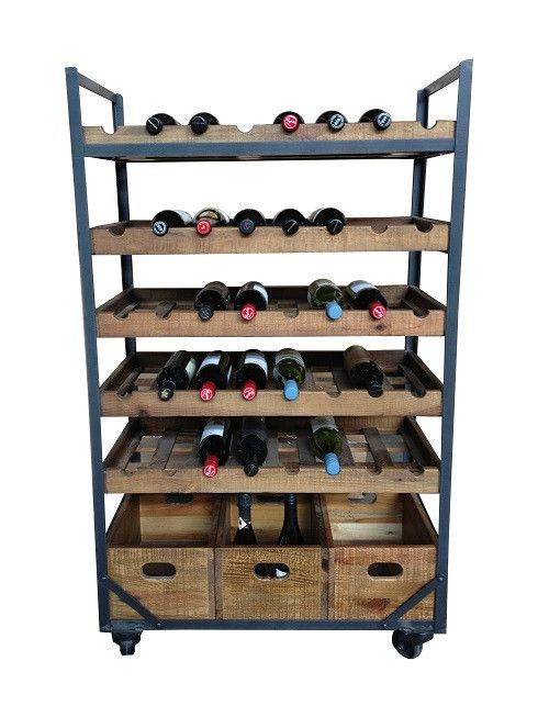 Industrial style wine rack made from iron and timber. Holds 40 bottles. Great design on wheels. $995