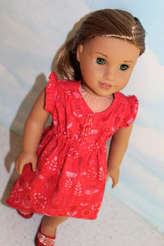 18 Inch Doll like American Girl Red Floral Flutter Sleeve