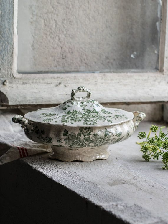 Antique Ironstone Transferware Soup Tureen by FrenchAtticFinds