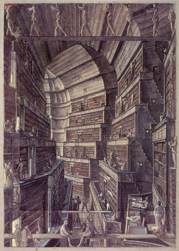Fantastic Libraries | tygertale Jorge Luis Borges's The Library of Babel, illustrated by Érik Desmazières
