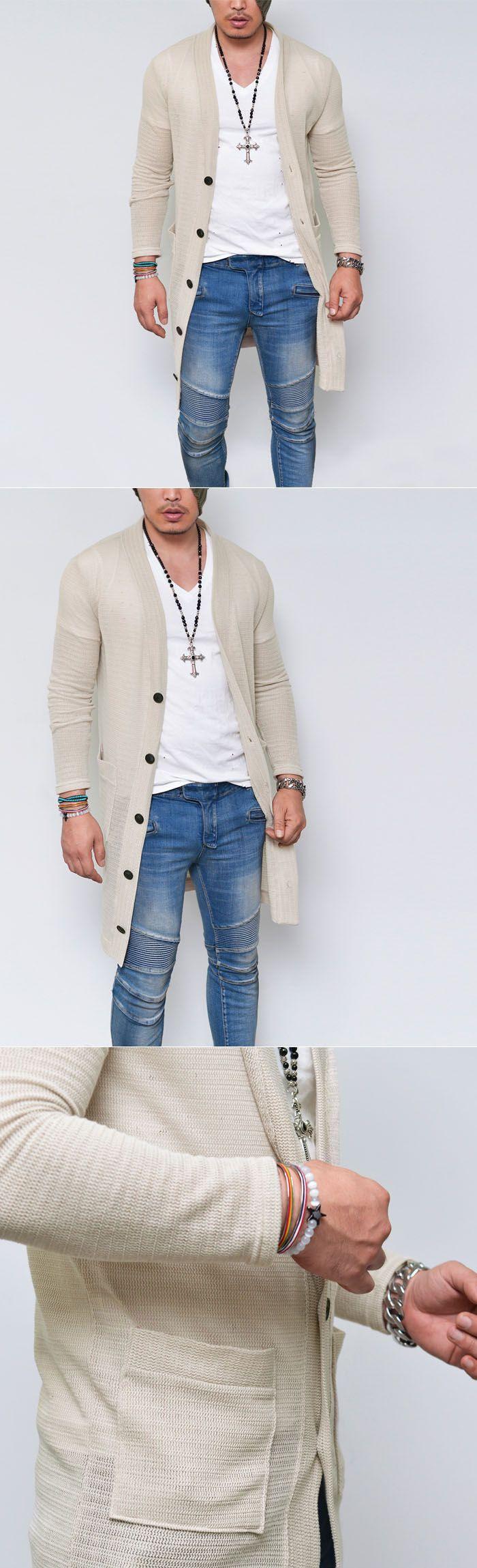 See-through Knit Long Button Jacket-Cardigan 115 - GUYLOOK