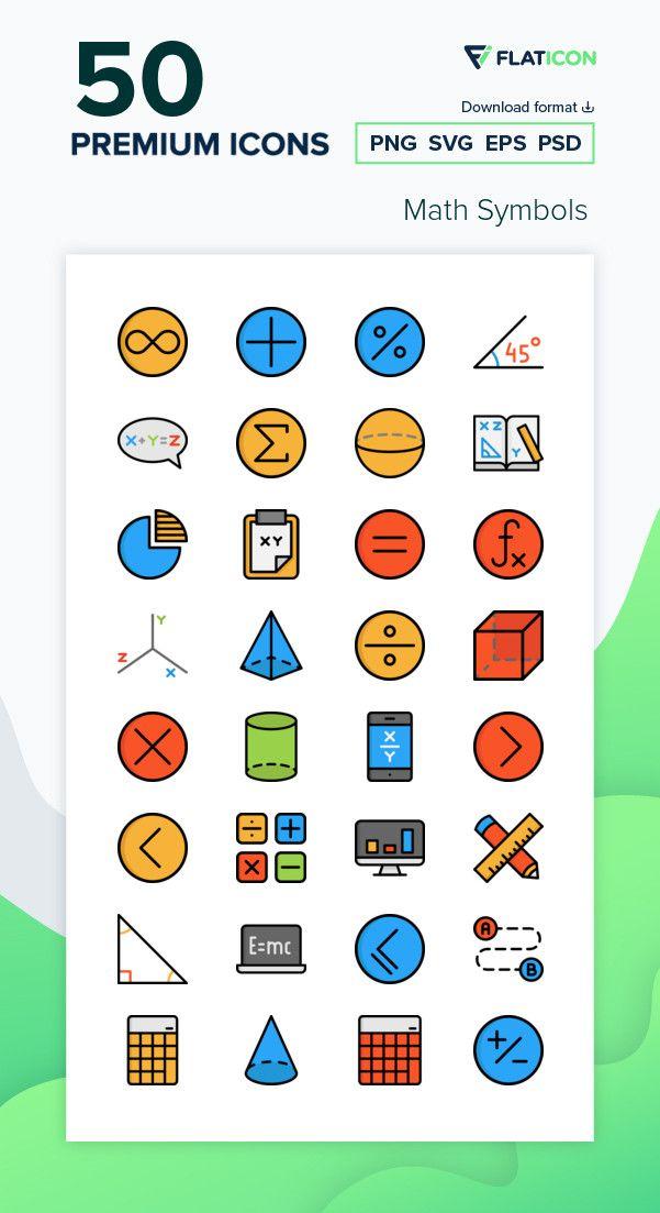 50 Premium Vector Icons Of Math Symbols Designed By Freepik Symbol Design Vector Icons Flat Design Icons