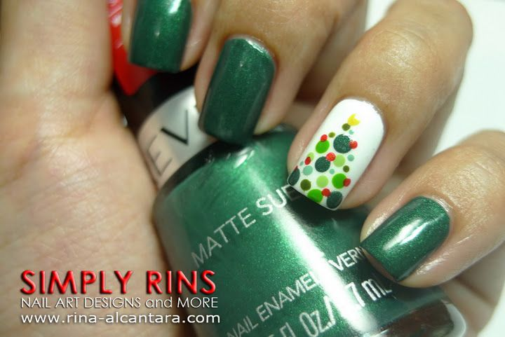 Pinned by www.SimpleNailArtTips.com - NAIL ART DESIGN IDEAS Cute Christmas Tree Accent Nail !