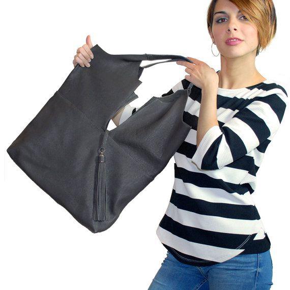 Borsa grande di pelle grigia borsa  portafoglio la di GanzaDesign