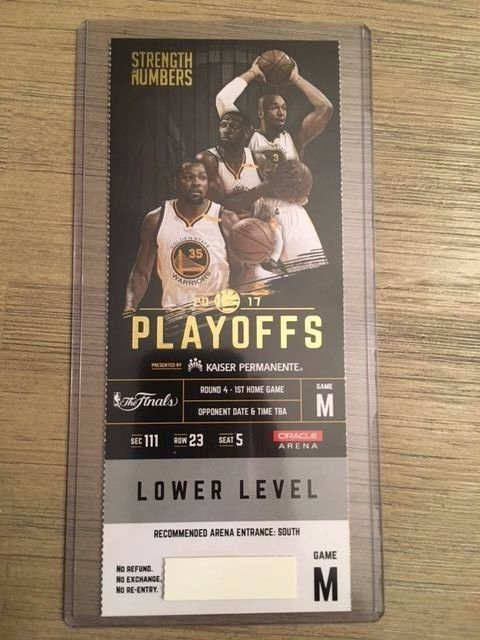 2017 NBA Finals Golden State Warriors vs Cleveland Cavs Game 1 Ticket Stub