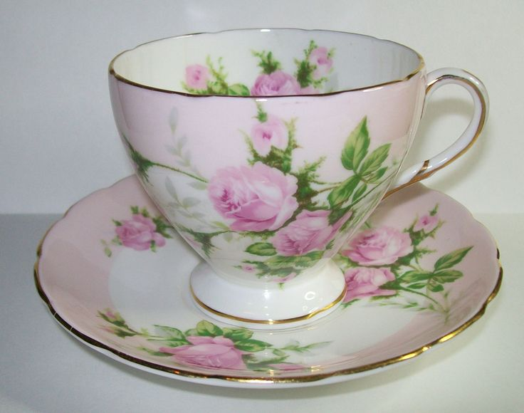 E B Foley Bone China DUO CUP Saucer SET Pink Rose Design