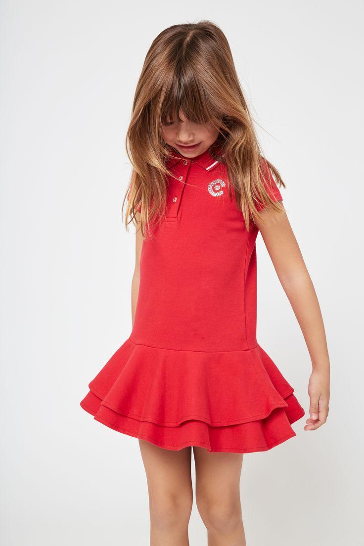 Vestido de Niña Polo Rojo Volantes - Moda - Niña - Conguitos #kidsfashion #dress #kids #springsummer #ss18 #vestido #polo #modaniña #niña