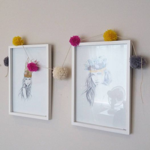 Pom Pom Garland next to the cutest prints by @elle_wills #pompoms #interiors #nzmade #handmade
