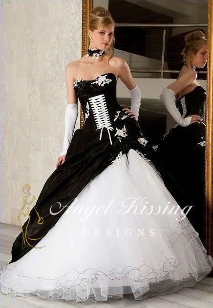 Neu Schwarz/Weiß A-Linie Brautkleider Hochzeitskleider Abschlussfeier Kleider