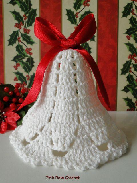 PINK ROSE CROCHET: Sino Enfeite de Natal Christmas Bell                                                                                                                                                                                 Mais