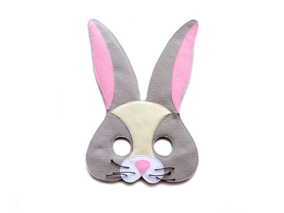 Handmade Felt Cute Bunny mask. Woodland animal Rabbit mask.  Fits from toddler to adult. For adults, I make bigger eyes for the clear view. Please select Kids or Adults size!  Mask is with attached elastic band and ready to wear. Just put it on and lets play!  Mask is made with 2-3 layers of felt. The outer side is from a solid felt and inner side is from a soft felt for comfortable use. The Mask is soft and pliable but very sturdy!  Mustaches made from a cord make Bunny even more realistic…