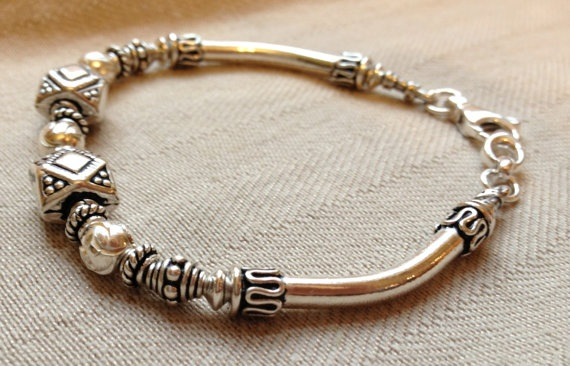 Sterling Silver Bali Bead Bracelet by GLANCEJewelry on Etsy, $100.00