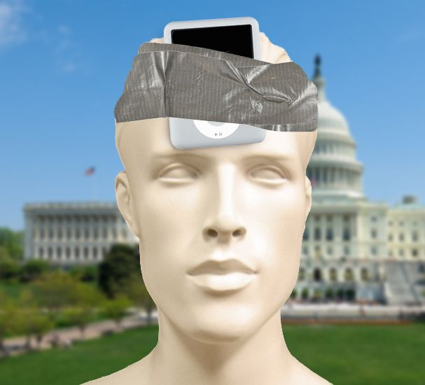 Mannequin With iPod Mini Playing Reagan Speeches Taped To Head Declares For Republican Presidential Primary