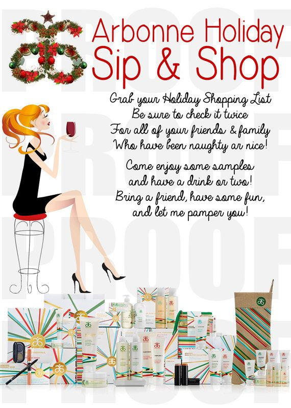 Arbonne Holiday Open House /Sip & Shop Invitation - Hello Joy Arbonne Holiday Sip and Shop Invitation  by LiveaLifebyDesign